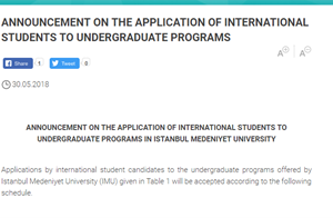 Announcement On The Application Of International Students To Undergraduate Programs